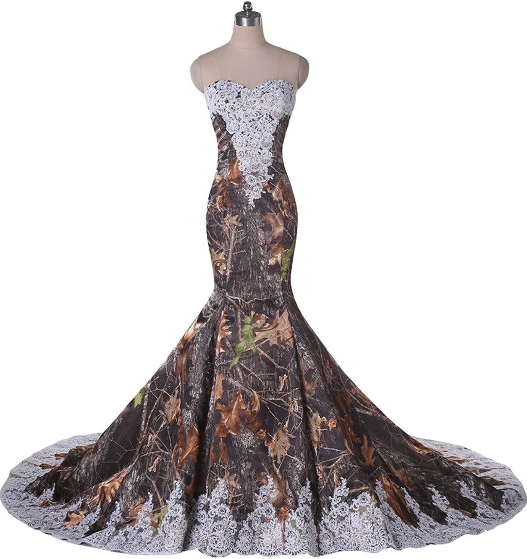 Angel Bride Camo Sweetheat Bridal Dress Court Train Mermaid Wedding Dress Lace
