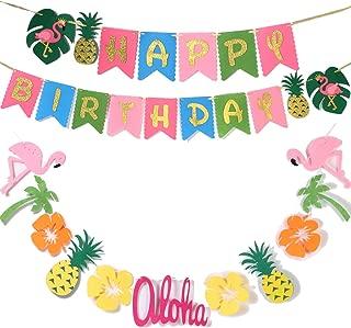 Hawaiian Party Decoration |Luau Party Supplies| Hawaiian Tropical Banner, Flamingo Garland for Pool Party Supplies,Tropical Party Decoration(set of 2),Birthday Banner for Beach Party decorations