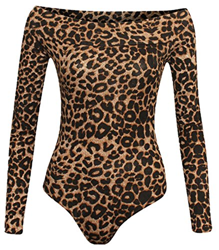 Re Tech UK - Damen Body - schulterfrei & langärmlig - Bardot-Ausschnitt - Stretchmaterial - Brauner Leoprint - 36-38