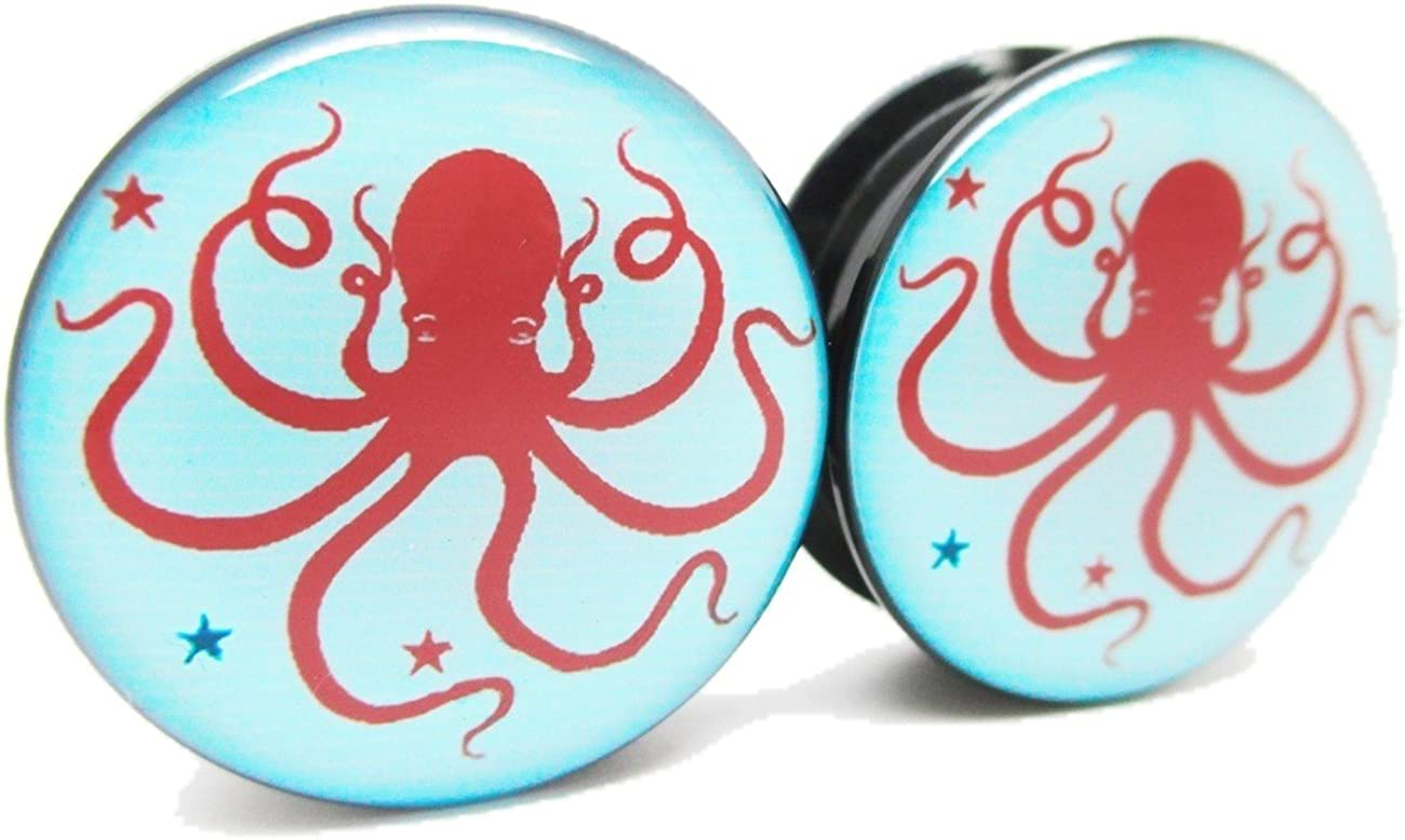 Pierced San Jose Mall Republic Red Blue Octopus Acrylic Ear Plugs Clearance SALE Limited time - Screw-On