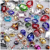 Sew On Rhinestones, Choupee 130PCS Sew On Glass Rhinestone Metal Back Prong Setting Sewing Claw Rhinestone Mixed Shapes for Costume, Clothes, Garments, Dress, Earring, Belt and Shoes