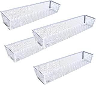 """$24 » SZAT PRO 4Pack 3 Inches Mesh Cutlery Tray Drawer Organizer Flatware Organizer Utensil Storage for School Supply Holder, Office Items, Home Organization (Silver, 12"""" x 3"""" x 2"""",1 compartment)"""