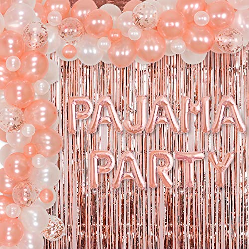 Pajama Party Supplies for Girls Women Rose Gold Balloon Garland Kit for Sleepover Slumber Ladies Night Spa Party Decorations Foil Tinsel Curtain Pajama Party Balloon Banner