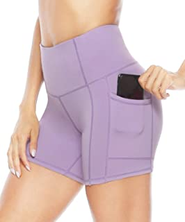 Women's High Waist Workout Yoga Shorts with Pockets, Non See-Through 4 Way Stretch Tummy Control Athletic Shorts