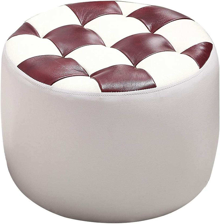 JIANFEI Footstool PU Cushion Solid Wood Frame Bedroom Corridor, 7 colors (color   White, Size   45x45x32cm)