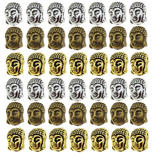 48-Pack Assorted Metal Spiritual Buddha Head Spacers Loose Beads Hole 2mm Handmade Bracelets Necklaces Pendants Charms DIY Jewelry Making Accessories 11x9x8mm Antiqued Bronze Gold Silver