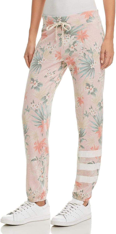 SUNDRY Womens Tropical Print Jogger Sweatpants