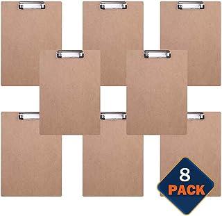 BOMKEE Lot de 8 Format A4 Porte-Bloc en Bois Presse-Papiers Clip Métallique avec Crochet de suspension Memo des Dossiers D...