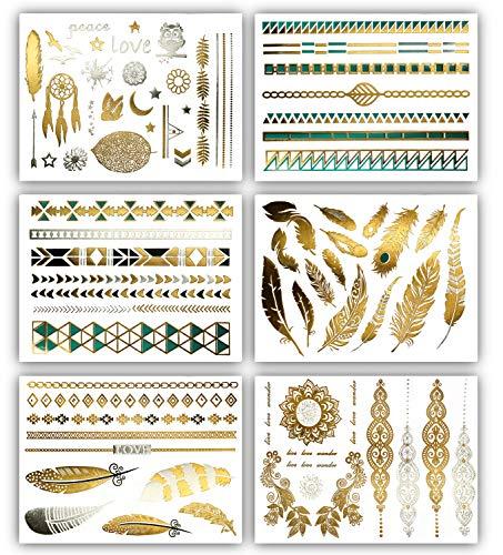 Terra Tattoos Temporary Metallic Tattoos - 75 Boho Turquoise Gold Tattoos