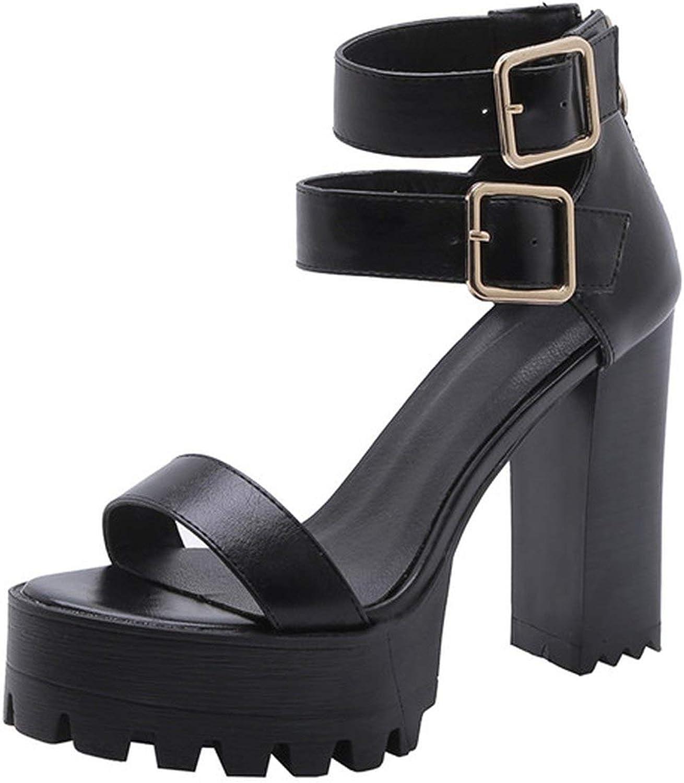 Sandals Buckle Platform Chunky Heels shoes Zip Sandals Ladies Size 3-11