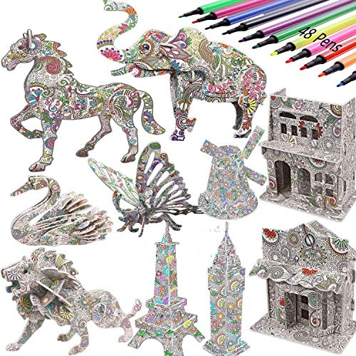 3D Coloring Puzzle Set -DIY Arts and Crafts for Kids -STEM Educational Construction Toys-Perfect Creativity Kit & Travel Activity-Best Toy Gift for Girls and Boys (10Pack)