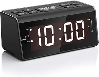 """Digital Alarm Clock Radio with AM/FM, 1.2"""" White Big Digits Display, Sleep Timer,.."""