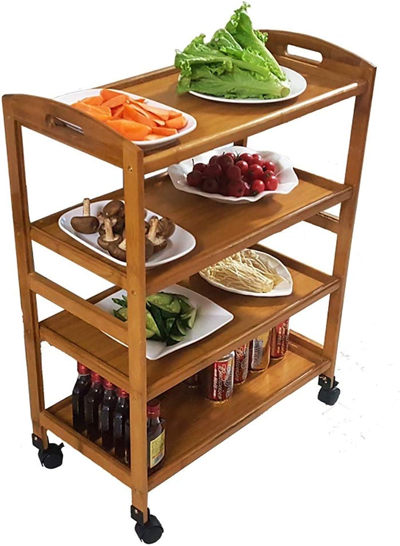 Solid Wood Microwave Oven Racks Dining carts Kitchen Floor Racks Living Room Storage Rack (Size   60  32  81cm)