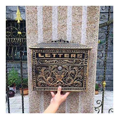 JIAHE115 Inductie vuilnisbak PO Box Postbus Vintage grote metalen brievenbus boodschap outdoor waterdichte muur gemonteerde vergrendelbare brievenbus Huishoudelijke decoratieve opslag emmer