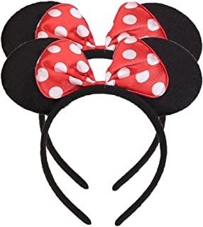NiuZaiz Set of 2 Costume Deluxe Fabric with Dots Red Bow Mouse Ears Headband for Boys and Girls Birthday Party Accessory Decorations (Red)