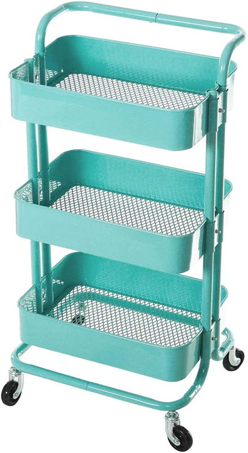 3-Tier Metal Utility Service Cart Rolling Storage Shelves with Handles,Storage Utility Cart,bluee