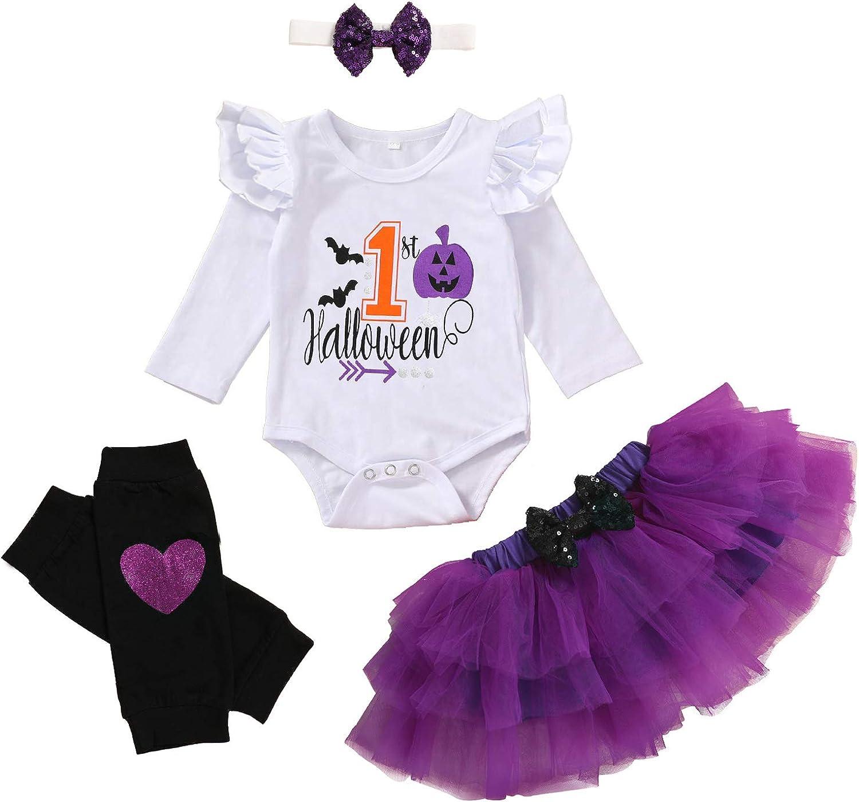 Baby Girl My 1st Halloween Outfits Long Sleeve Pumpkin Romper+Tutu Skirt+Headbands 4PCS Clothes Set