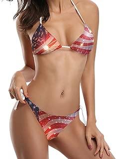Naanle Sparkling American Flag Sexy Two Piece Bikini Swimsuit Swimwear Set for Women