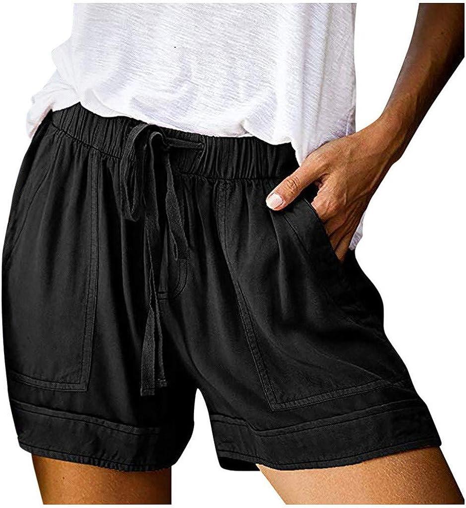 7789 Women's Drawstring Sweat Shorts Comfy Shorts for Women Teen Girls Casual Summer Elastic Waist Beach Shorts
