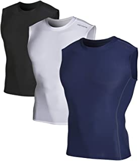 Men's 2~3 Pack Cool Dry Athletic Compression Baselayer Workout Sleeveless Shirts