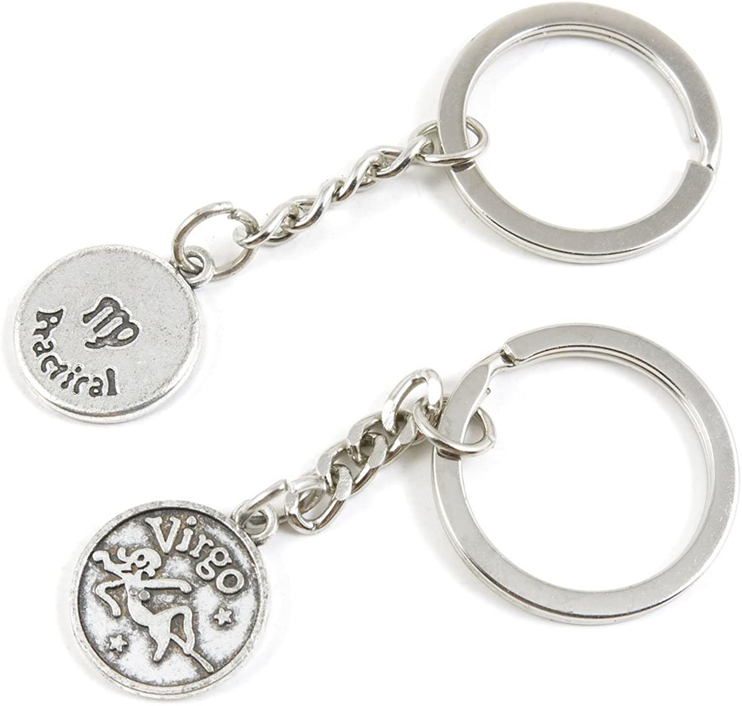 100 Pieces Keychain Keyring Door Car Key Chain Ring Tag Charms Bulk Supply Jewelry Making Clasp Findings H8NW2S Virgo