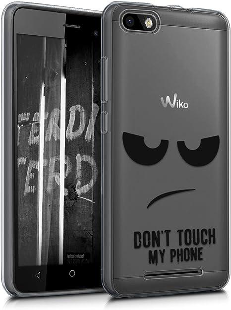kwmobile Coque Compatible avec Wiko Lenny 3 - Housse Protectrice pour Téléphone en Silicone Don't Touch My Phone Noir-Transparent