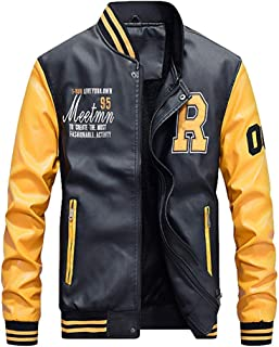 Mens Baseball Jacket Varsity Letterman Bomber College PU Leather Outerwear
