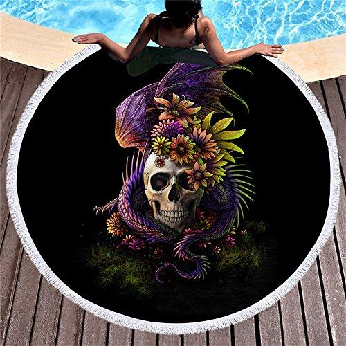 Pterygoid Collection Strandtuch mit Totenkopf-Motiv, 150 cm, dick, rund, Mikrofaser, mit Skelettblume auf Kopf, weich, schnell trocknend