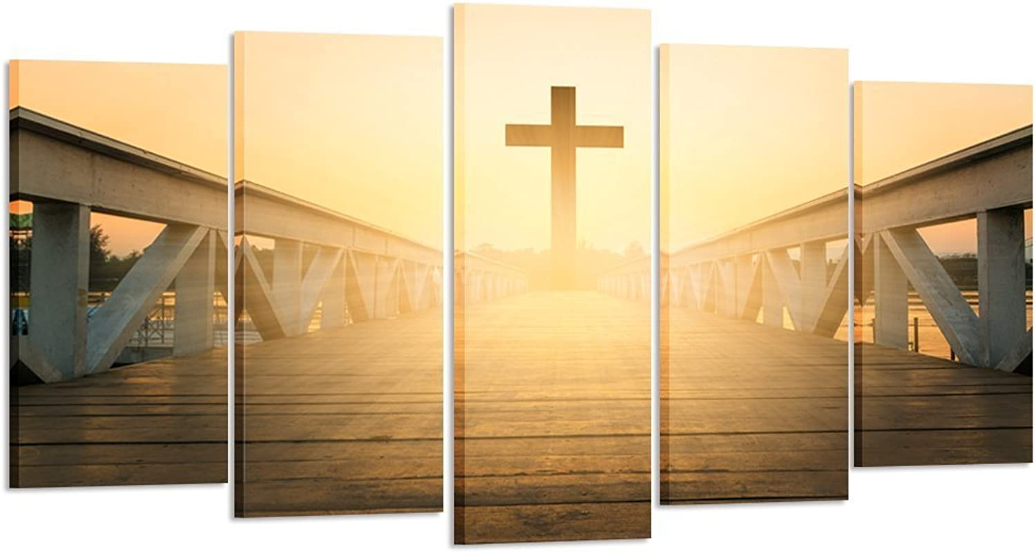 Kreative Arts - Large Size 5 Pieces Canvas Prints Wall Art Christian Cross Picture Stretched Gallery Canvas Wrap Giclee Ready to Hang for Living Room Decor (Large Size 60x32inch)