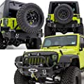 "Restyling Factory 07-16 Jeep Wrangler Rock Crawler Front Bumper w/ LED Lights Mount & Winch Plate+Rear Bumper with Tire Carrier & 2""Hitch Receiver-Textured Black Combo"