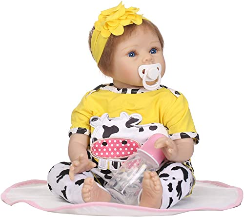 ¡no ser extrañado! Junlinto, 22inch Silicon Born Lifelike Blanket Blanket Blanket Amarilla Leche Ropa de Vaca Diadema de Flores Infancia temprana Juguetes para Niños  a la venta