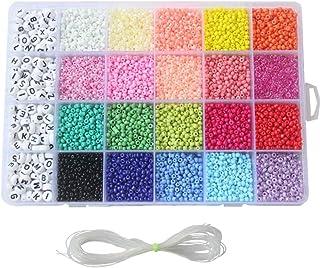 مجموعة خرز دائري صغير من 3300 قطعة مع شبكة 24 للحرف اليدوية مع حبل لصنع الحلي