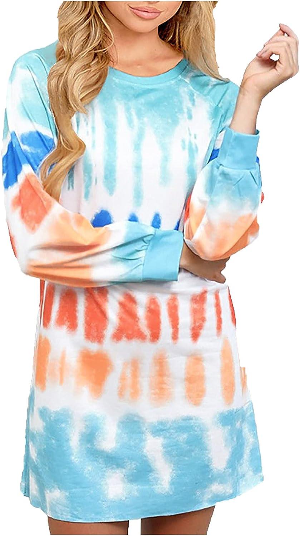 RFNIU T Shirt Dress Women Fall Fashion Casual Tie Dye Stripe Crewneck Pullover Tops Comfy Color Long Sleeve Blouses Light Blue