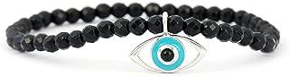 Halloween Offer - Sterling Silver Evil Eye Charm Bracelet with Black Onyx Beads