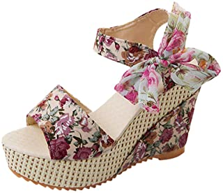 Women Open Toe Wedges Sandals, Ladies Floral Printed Lace-up Thick Bottom Snadals Beach Shoes