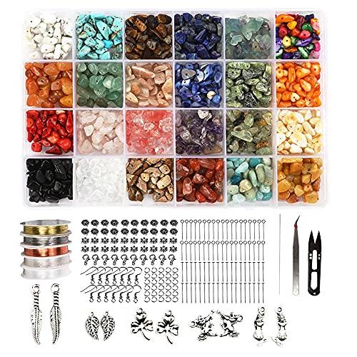 Kit de cuentas de piedra de chips irregulares, cuentas para hacer joyas adultos, kit para cuentas, kit de fabricación de pendientes, suministros de joyería, piedra natural