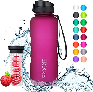 720°DGREE Leakproof Tritan Water Bottle uberBottle - 50 oz, 1.5 Liter   Ideal for School, Fitness, Outdoor, Sport, Bike, Kids, Camping   Simple 1-Click Opening   with Fruit Filter - BPA Free