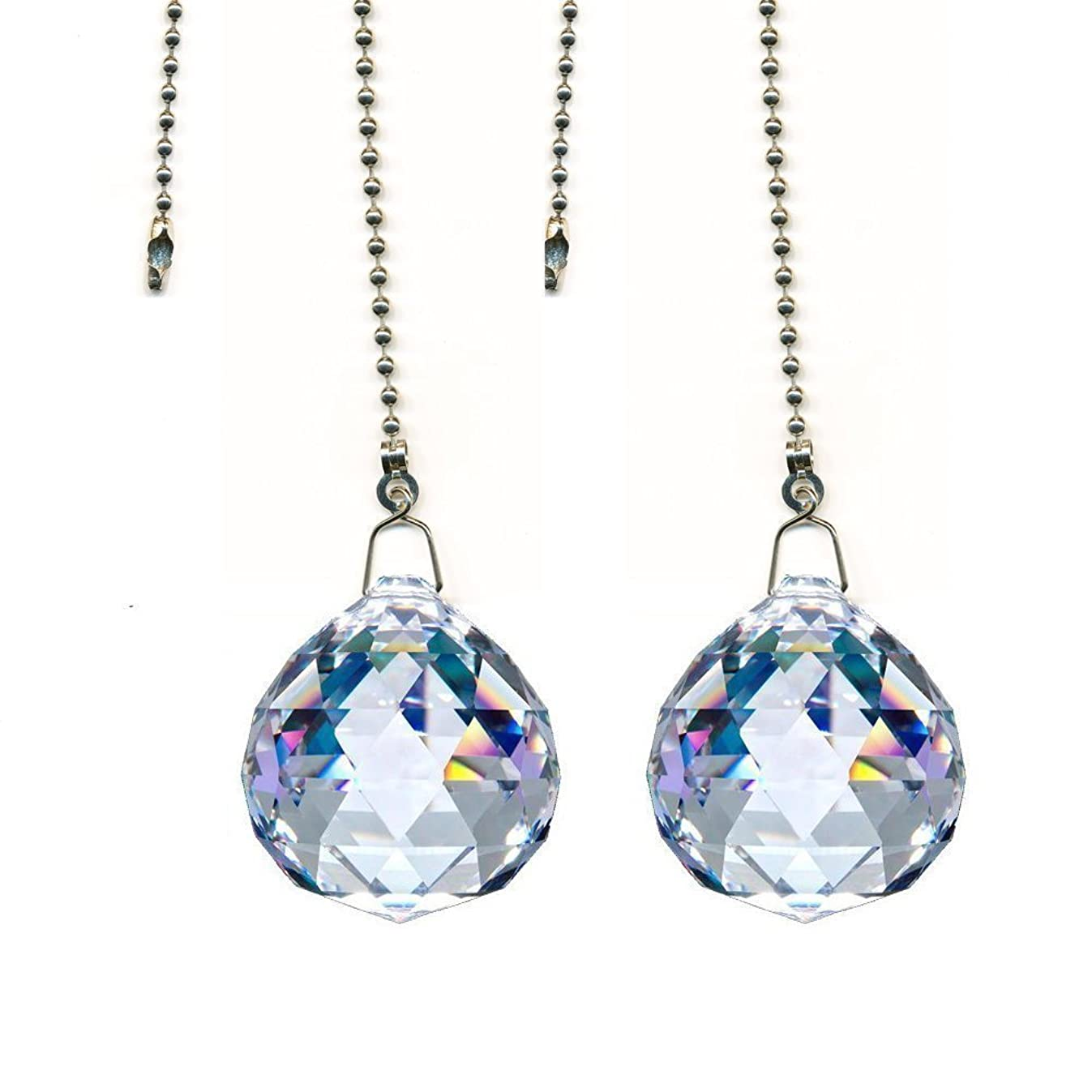 Gusnilo Magnificent Crystal 20mm Clear Crystal Ball Prism 4 Pieces Dazzling Crystal Ceiling FAN Pull Chains