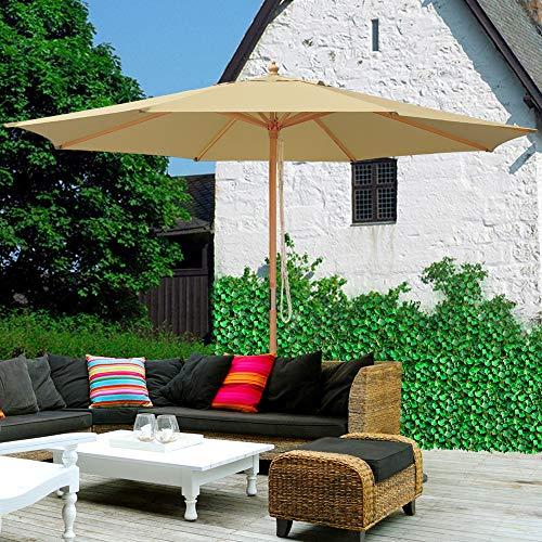 Yescom 13ft XL Outdoor Patio Umbrella w/German Beech Wood Pole Beach Yard Garden Wedding Cafe Garden (Beige)