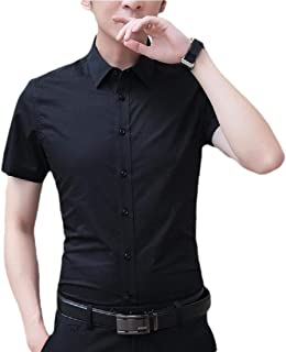 Men's Short-Sleeve Solid Shirt Business Casual Button Down Shirts