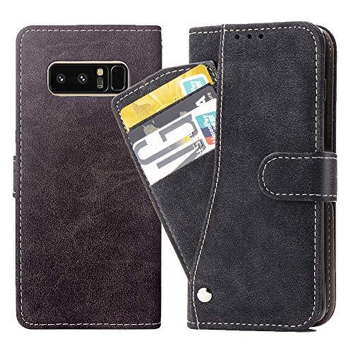 Asuwish Galaxy Note 8 Hülle,Leder Lederhüllen klappbar Schutzhülle Wallet Hülle Mit Kartenfach Ständer Stand Dünn Stoßfest HardWallet Hülle Panzerglas + Handyhülle für Galaxy Note 8 (6.3 Zoll) Schwarz