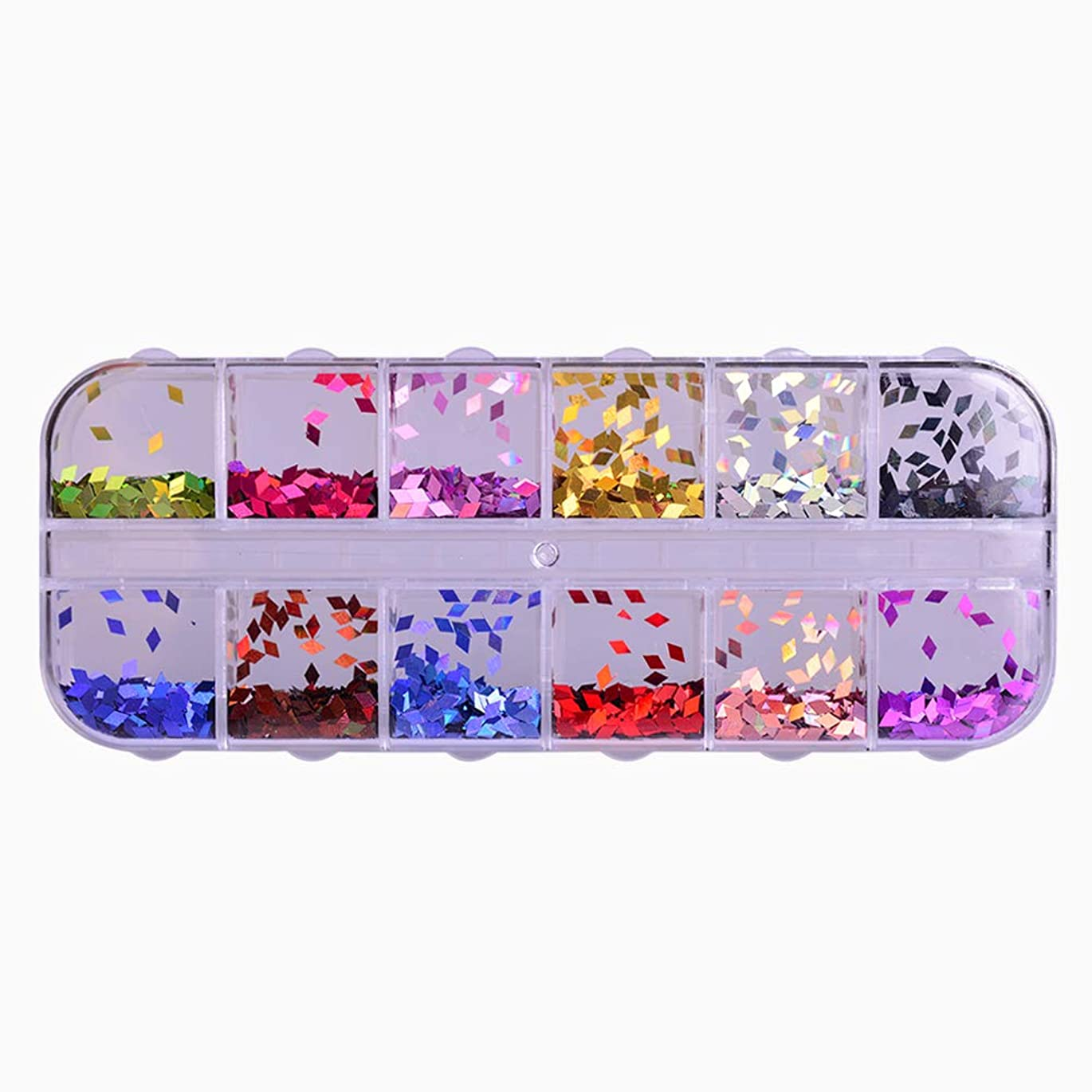 苦情文句湿った社会学12 Color Rhombus Laser Sequin Nail Art Sparkly Slice Paillette 3D Salon Decor Accessory for DIY Glitter Flake Set CHLS