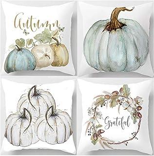 ARTIFUN Funda de cojín de calabaza con hojas, otoño, Acción de Gracias, funda de cojín decorativa de algodón y lino, 45 x 45 cm (ABCD)