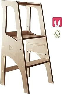 MeowBaby Learning Tower Asistente de Cocina Para Ni/ños Trona Torre de Aprendizaje Montessori Estable e Inclinable Desde el Soporte de Taburete de Madera Kitchen Helper Natural
