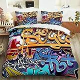 Dibujos Animados Coloridas Letras de Graffiti Cubierta edredón Conjunto Cama 3D impresión Microfibra edredón Conjunto de edredones con almohadascasas-P-P-001_Super King 260x220 cm