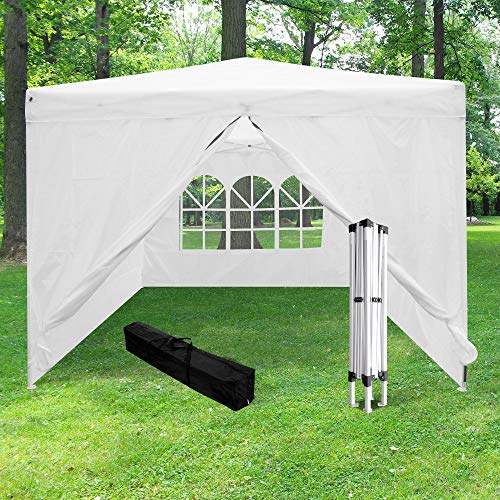 Skylantern Folding Gazebo 3 x 3 m + 4 White Walls – Folding Gazebo with 4 210D Canvas Walls (160 g/m2) – Waterproof Folding Tent Ideal for Outdoor Reception