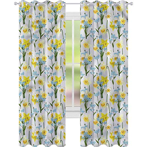 YUAZHOQI Blackout Curtains for Bedroom Daffodils Forget Me Not Flowers for Kids Decor Customized Curtains 52' x 84'(2 Panels)