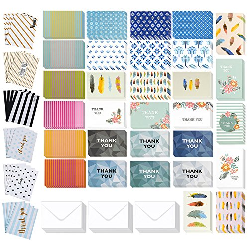 Assorted All Occasion Greeting Card Set with Envelopes, Thank You, Blank Cards (4x6 In, 144 Pack)