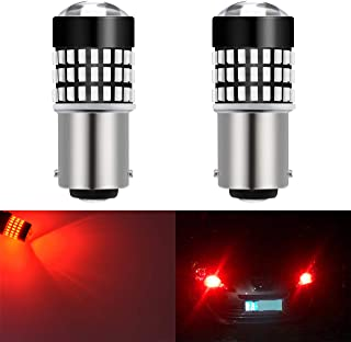 KaTur 1157 BAY15D 1016 1034 7528 Led Light Bulb Super Bright 900 Lumens High Power 3014 78SMD Lens LED Bulbs for Brake Turn Signal Tail Backup Reverse Brake Light Lamp,Brilliant Red(Pack of 2)
