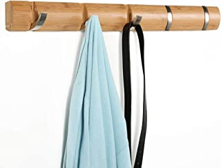 LANGRIA Wall Mounted Floating Coat Rack with Foldable 5 Hooks Storage Shelf for The Clothes and Hat